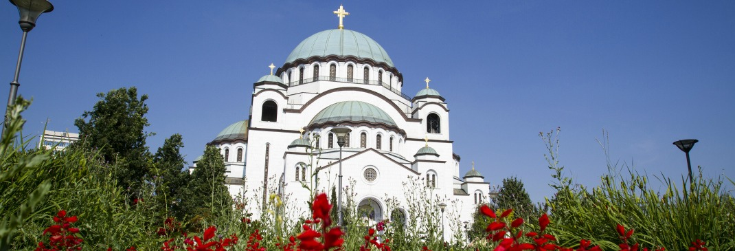 Red flowers surround the Temple of Saint Sava in Belgrade, Serbia