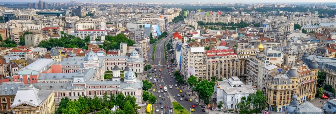 A bird's eye view of Bucharest's city center