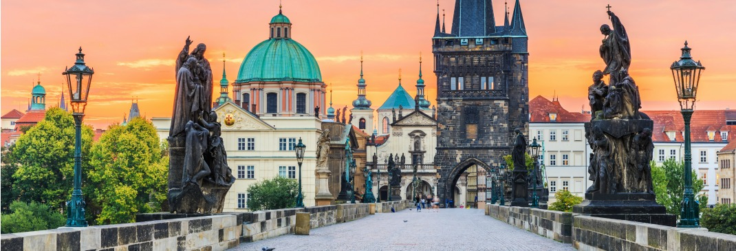 Prague's famous Charles Bridge at sunrise