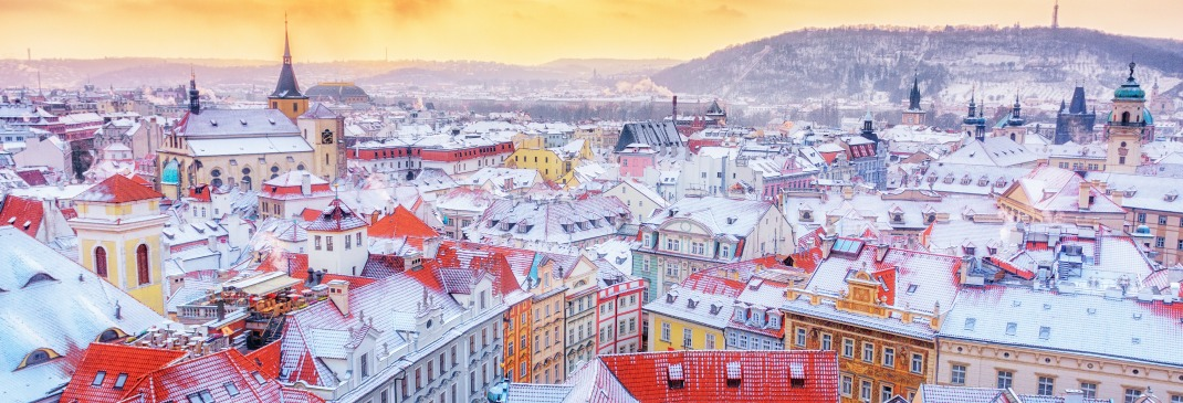 The snowy rooftops in Prague at Christmas