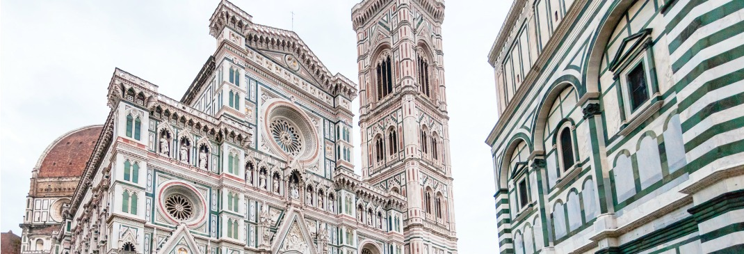 The Duomo Cathedral, Giotto's Campanile and Baptistery on Piazza San Giovanni