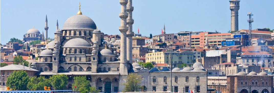 A view of Ortakoy Mosque and the city of Istanbul from the Bosphorus River