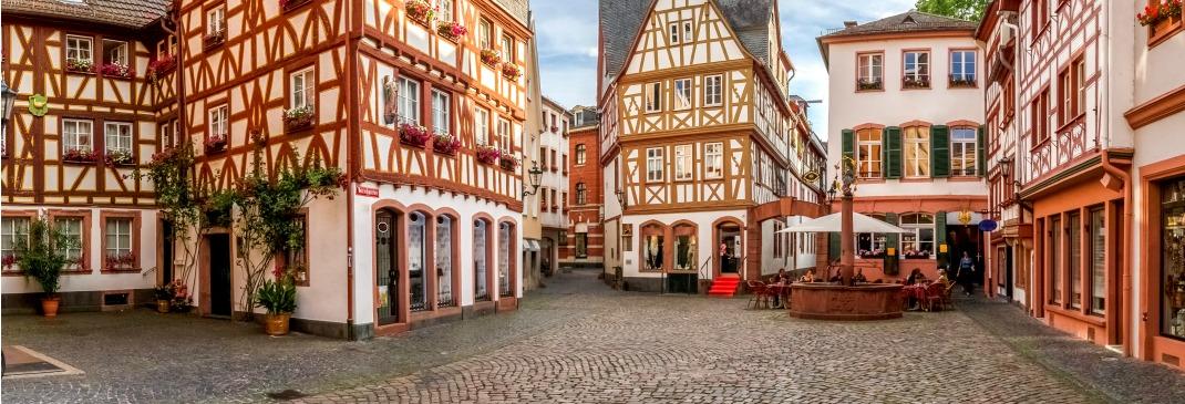 Die Altstadt von Mainz mit Fachwerkhäusern