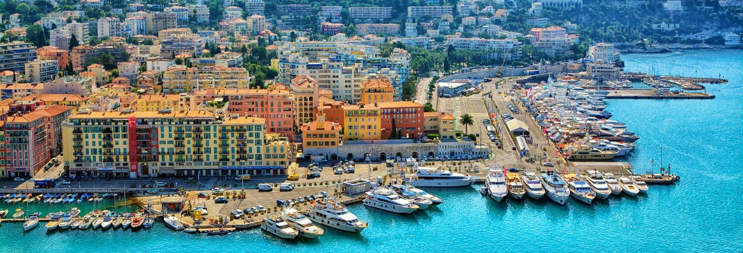 A panoramic view of Nice, a luxurious city on the French Riviera