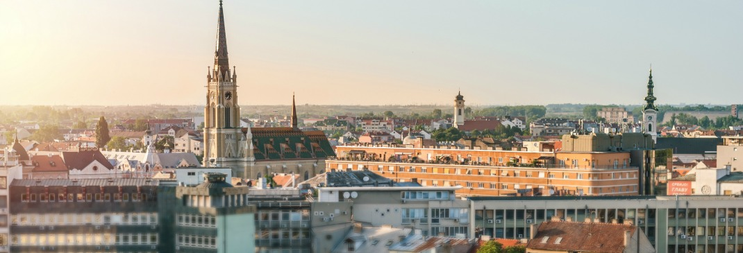 Cityscape showing the skyline of Novi Sad in Serbia