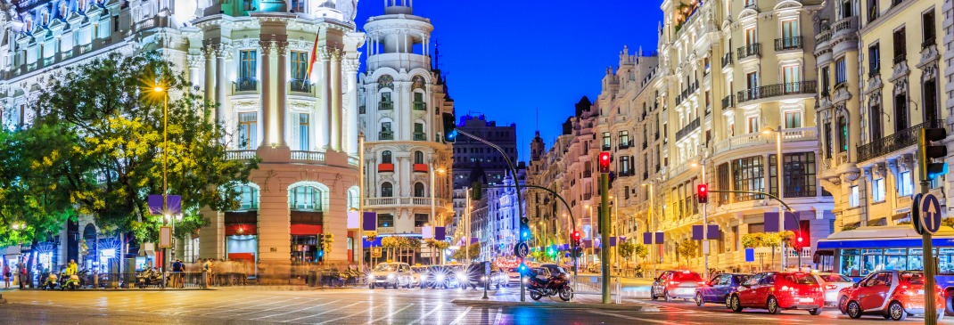 Gran Via, the main shopping street in Madrid