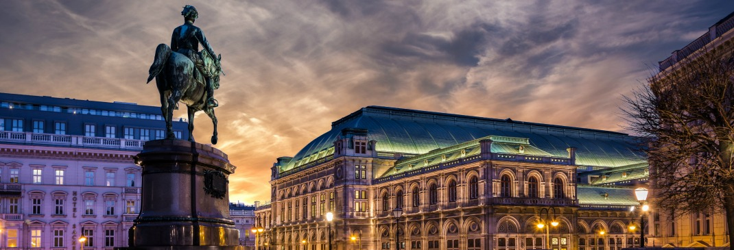 The Vienna State Opera building at dawn.