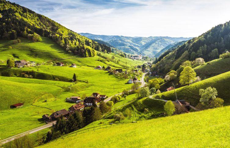 Grüne Täler im Schwarzwald.