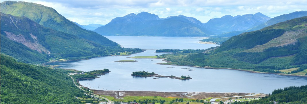Beautiful Loch Leven seen from the top of a hill in Glencoe in the highlands of Scotland
