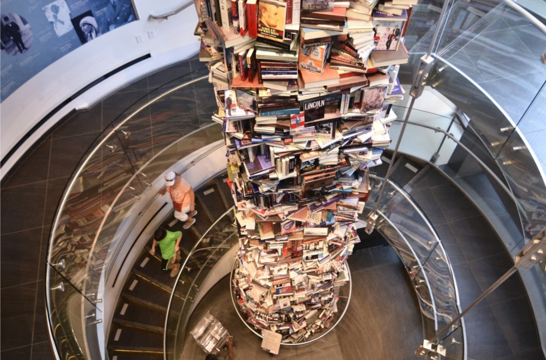The tower of Lincoln books at the Center for Education and Leadership. Photo by Gary Erskine.