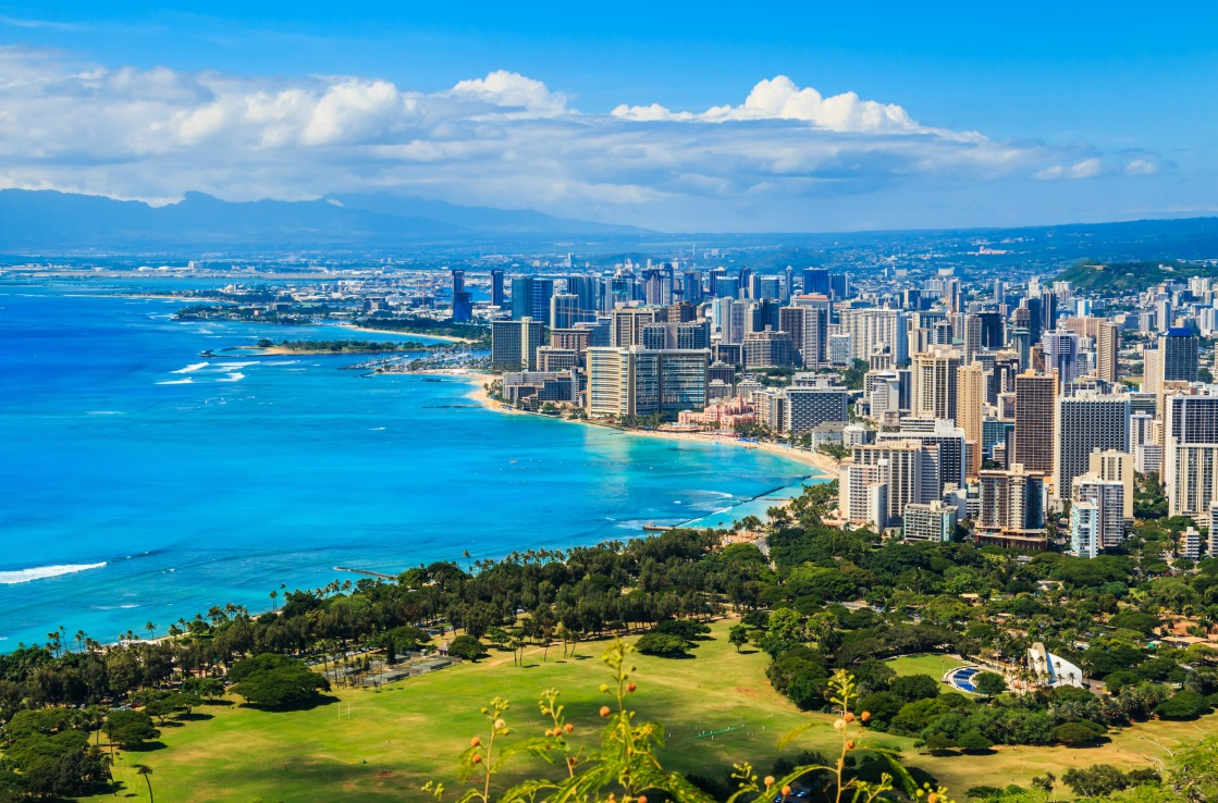 Die Skyline von Honolulu in Hawaii