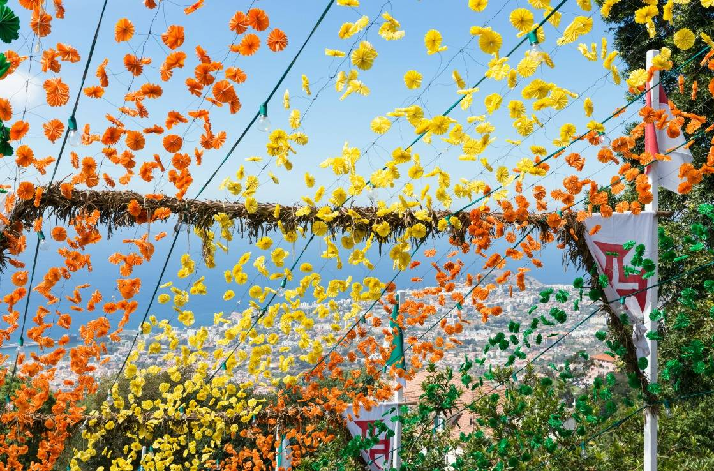 Blumenfest auf Madeira im Frühling.