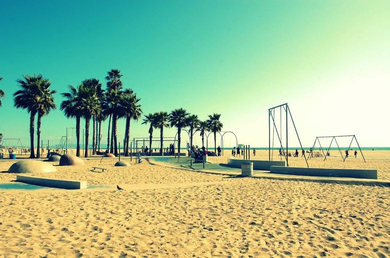 Spielplatz am Strand von Santa Monica.
