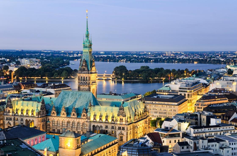 Hamburg Panorama am Abend