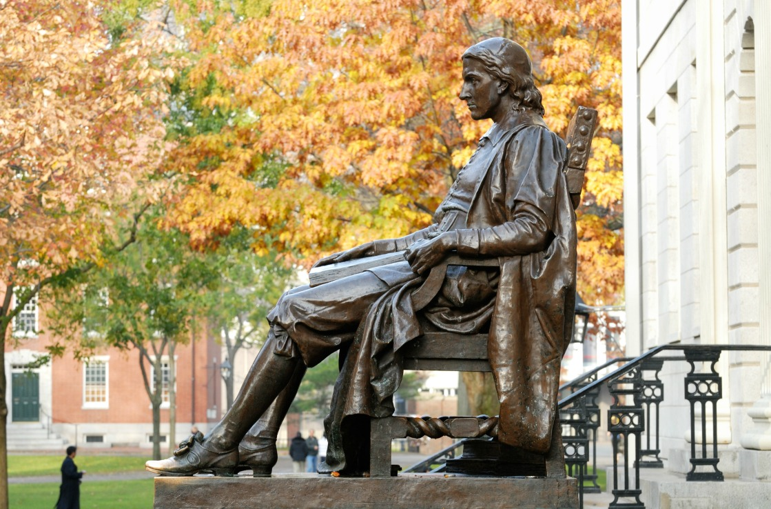 John Harvard Statue an der Harvard-Universität in Boston