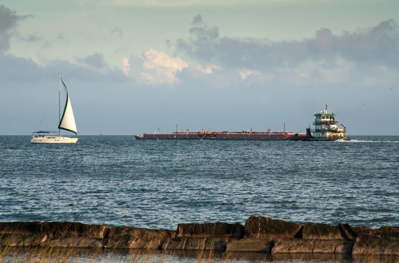 Boote am Strand von Corpus Christi in Texas