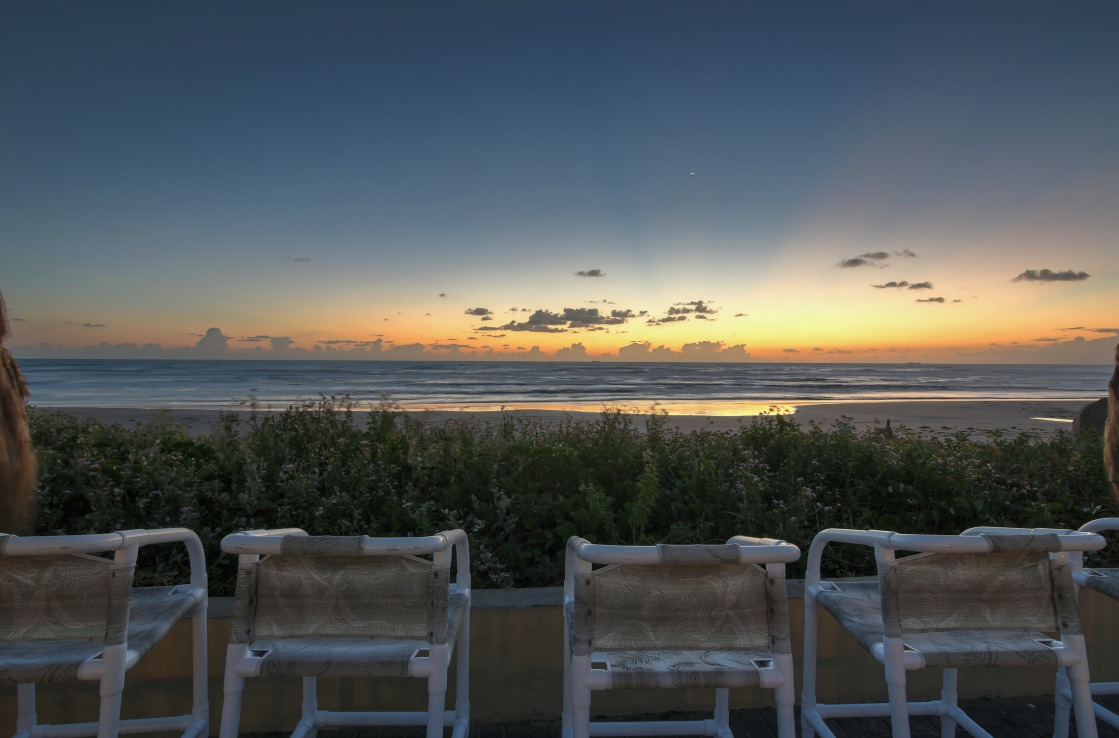 Der South Padre Strand in Texas bei Sonnenuntergang