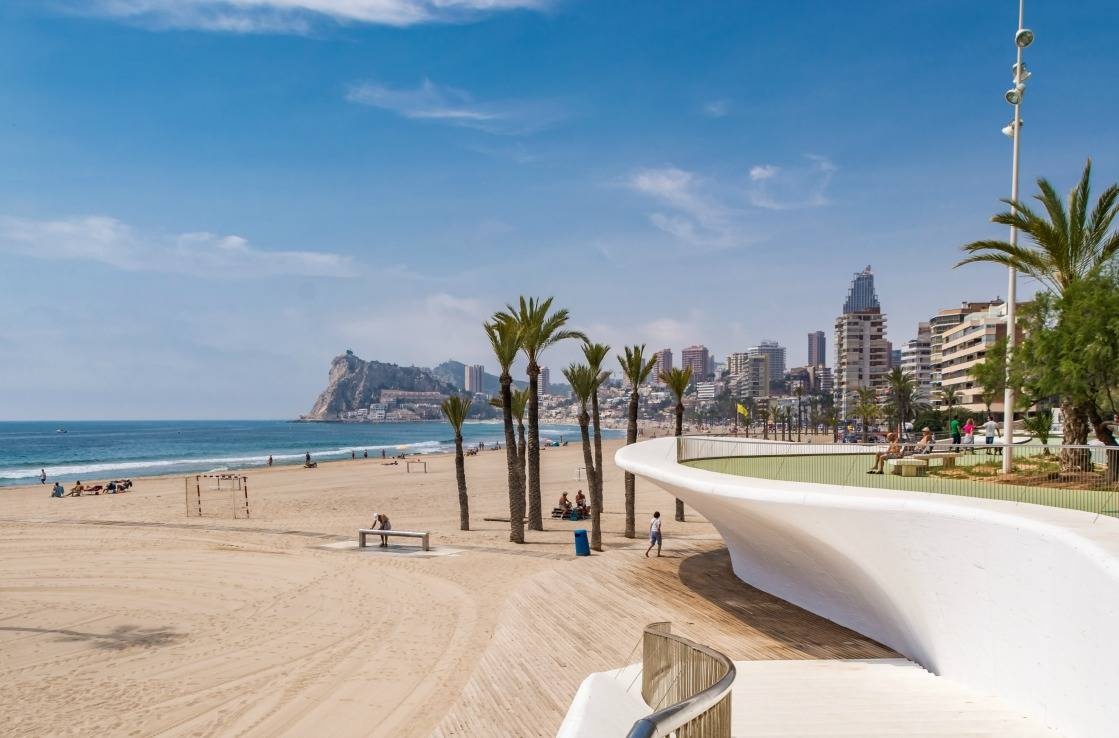 Poniente beach in Benidorm.