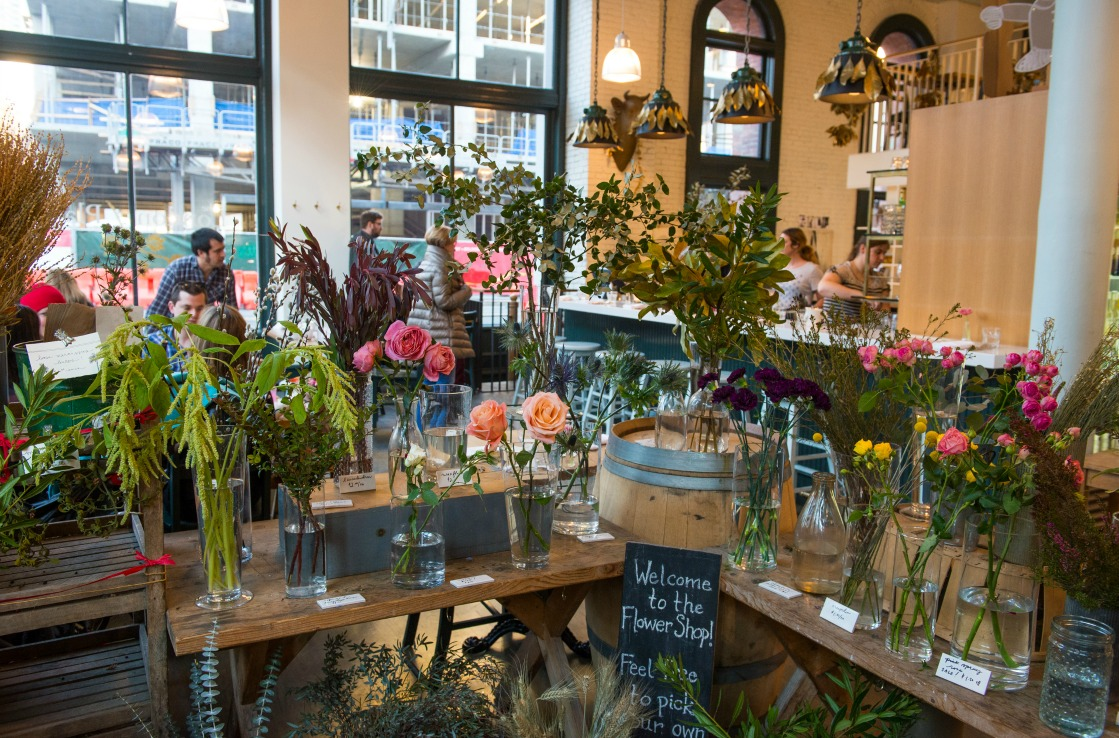 The London Pane's flower cart brightens the dining ambience.