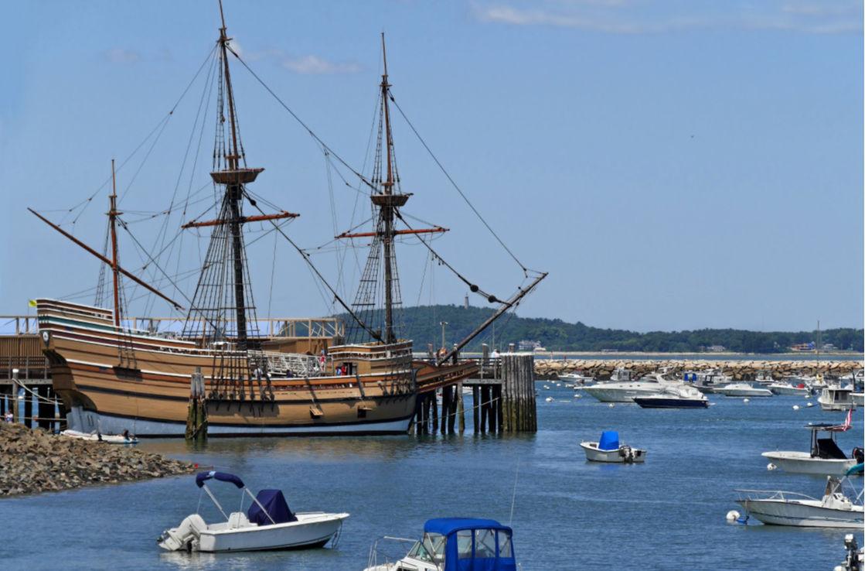 The Mayflower ship in port